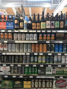 craft beer and hard cider section