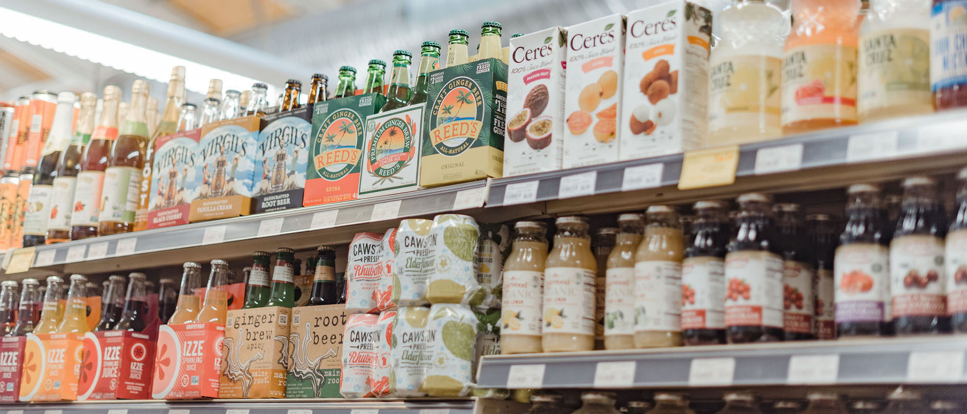 Beverage aisle in Hawthorne Valley Farm Store