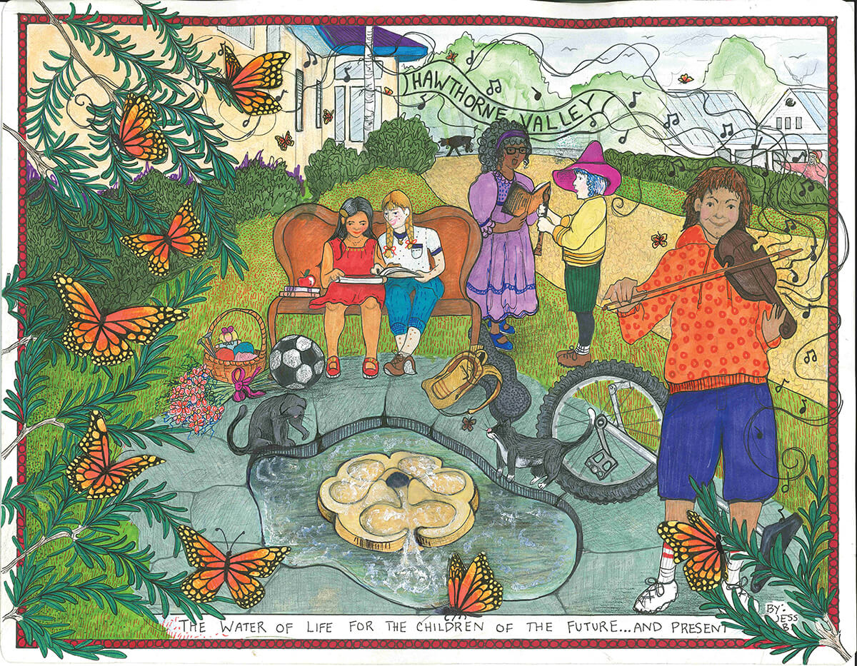 Illustration by Jess Brobst with children and flowform